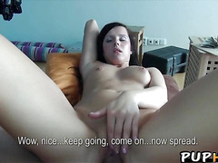 Squirting brunette paid for sex