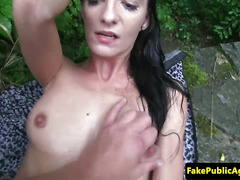 Pickedup inked euro giving head outdoors