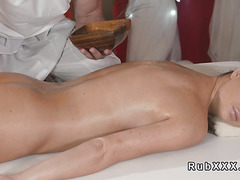 Oiled busty brunette bangs masseur