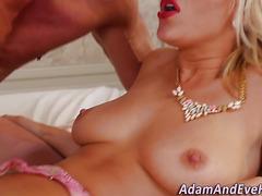 Hot blonde sucks cock