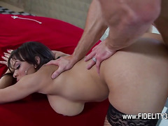 Czech blonde bitch banged over the table