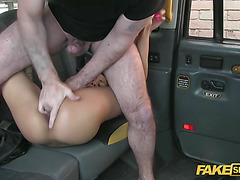 Black Busty gets pounded hard European style by a driver
