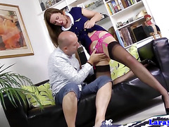 British milf cockriding while in stockings