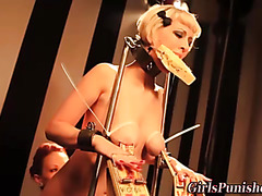 Lesbo sub breasts bound and clamped