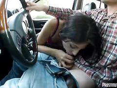 Amateur Latina Sucks Cock in Car