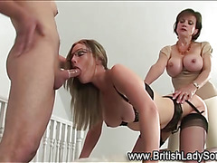 Mature lady in lingerie gets spirtoasted