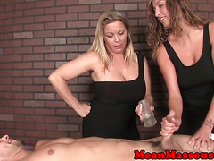 CBT massage mistress Amber domintes in trio