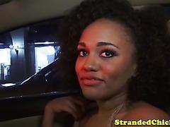 Stranded busty ebony babe giving head