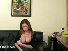 Fake agent enjoying brunett pussy