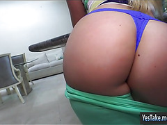 Big butt amateur blonde GF tries out anal sex on tape