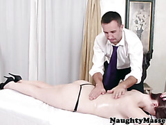 Massage loving redhead being tit rubbed