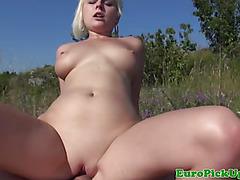 Blonde publicsex amateur fucks outdoors