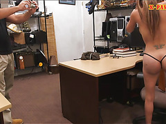 Busty latina pawns her stuff and banged by pawn keeper