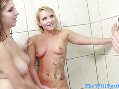 Busty prison babes squirting in shower trio