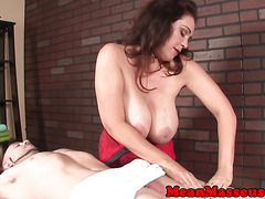 Bigtitted mistress ruins clients orgasm