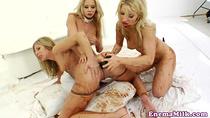 Chocolate milk enema lesbians use huge dildo