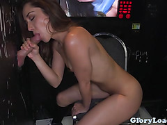 Amateur glory hole bj skank loves cum