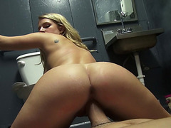 Amateur banged in a gas station toilet