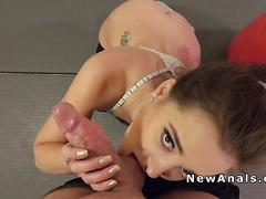 Hot girlfriend anal fucks after gym