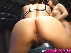 Asian honeys in lesbian action before getting hard cock