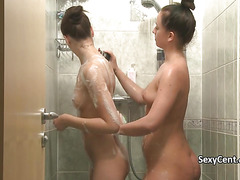 Lesbian teens cumming under shower