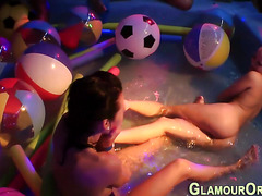 Bathing party slut jizzed