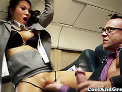 Sexy asian babes join the mile high club