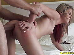 Anal loving bimbo GF riding dick