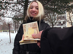 Blonde babe Mina took money and fucked