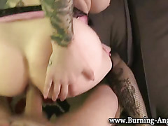 Gothic slut gets facial