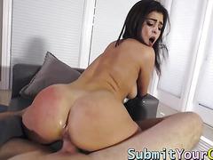 Amazing brunette Leah Gotti riding her boyfriends huge cock