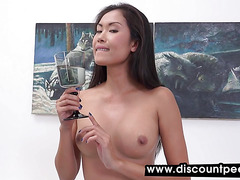 Asian chick perkys and showers in piss