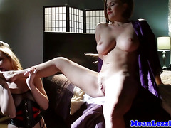 Latex lezdom milf licked out by slave girl