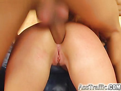 Ass Traffic Kitty sucks two dicks at a time gets DP'd loves cum