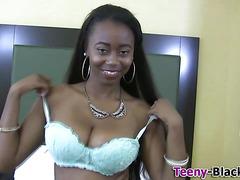 Hot ebony teen toys pussy