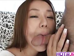 Naughty JP milf Sakura Hirota practices with fruit before swallowing cock