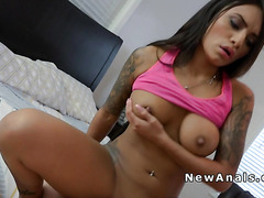 Busty Latina hottie gets anal sex