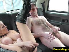 Femdom female cabbie toys her pussy