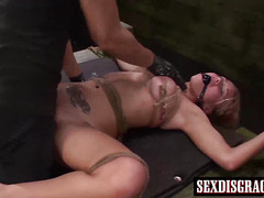 Tied up big titted blonde Bibi Miami getting banged hard