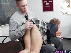Teen spanked and fucked