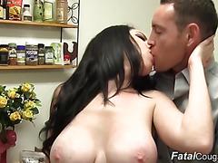 Big tit babe bonds with stepson