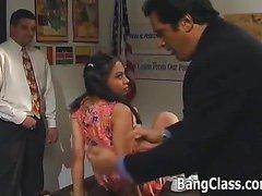 Schoolgirl gets pumped in 3some action