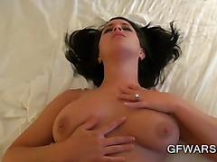 Huge titted brunette fucked by her BF in POV