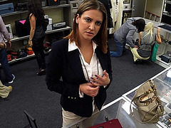 Blonde business woman wants to sell her old laptop and gets fucked