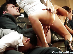 Oriental stewardesses get plowed roughly