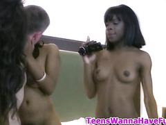 Ebony teen nail at party