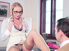 Horny babe kathnia Nobili getting fuck at the office dudes big cock