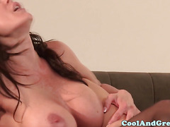 Glam lesbian milf and babe scissor and eat pussy