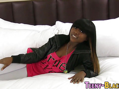 Tiny ebony slut fucks