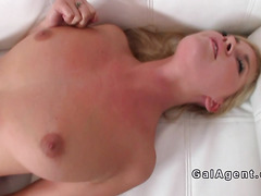 Tall slim lesbian babe toyed in casting
